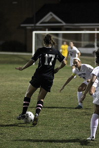 Meagan Reynolds, 17, dribbles the ball towards the goal.