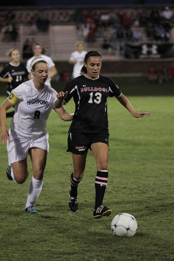 Mackenzie Davis, 13, defends the ball.