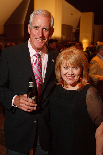 (Denver, Colorado, Oct. 5, 2011)<br /> Pete Coors and Angela Lieurance.  The 11th annual Men for the Cure, benefiting the University of Colorado Hospital Foundation, at Sports Authority Field at Mile High in Denver, Colorado, on Wednesday, Oct. 5, 2011.<br /> STEVE PETERSON