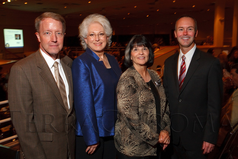 "(Denver, Colorado, Oct. 6, 2011)<br /> Mary Ann Shing (BRI president, second from right) with representatives of the Daniels Fund:  Peter Droege, Sparky Turner, and Todd Lewton.  The Brothers Redevelopment, Inc., 40th anniversary celebration, a fundraiser themed ""Opening Doors,"" at the Denver Merchandise Mart in Denver, Colorado, on Thursday, Oct. 6, 2011.<br /> STEVE PETERSON"