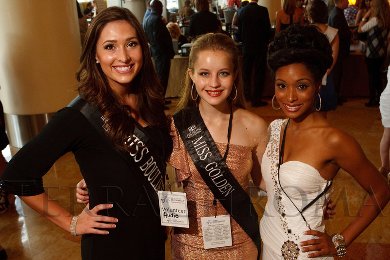 "(Denver, Colorado, Oct. 15, 2011)<br /> Audie Streetman (Miss Boulder), Paulina Filus (Miss Golden), Ashley Harper (Miss Southern Colorado).  The ""Be Beautiful Be Yourself Fashion Show 2011,"" benefiting the Global Down Syndrome Foundation, at the Hyatt Regency Denver at the Colorado Convention Center in Denver, Colorado, on Saturday, Oct. 15, 2011.<br /> STEVE PETERSON"