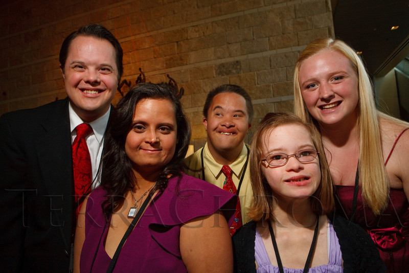 """(Denver, Colorado, Oct. 15, 2011)<br /> Jonathan Dorwart, Sarah Wells, Taylor Shelsta, Jamie Hesselink, and Debbie Osborn.  The """"Be Beautiful Be Yourself Fashion Show 2011,"""" benefiting the Global Down Syndrome Foundation, at the Hyatt Regency Denver at the Colorado Convention Center in Denver, Colorado, on Saturday, Oct. 15, 2011.<br /> STEVE PETERSON"""