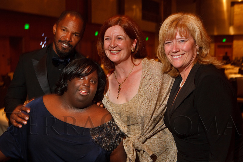 "(Denver, Colorado, Oct. 15, 2011)<br /> Jamie Foxx, DeOndra Dixon, Amanda Angelov, and June Richard.  The ""Be Beautiful Be Yourself Fashion Show 2011,"" benefiting the Global Down Syndrome Foundation, at the Hyatt Regency Denver at the Colorado Convention Center in Denver, Colorado, on Saturday, Oct. 15, 2011.<br /> STEVE PETERSON"