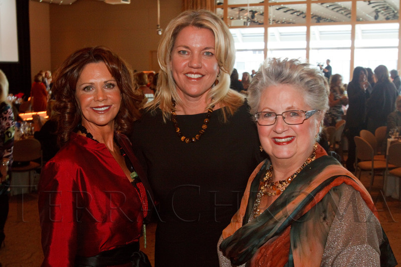 (Denver, Colorado, Oct. 21, 2011)<br /> Event co-chairs Gayle Novak and Lisa Daniel-Johnson with Jill Behr (president of the Denver Center Alliance).  Theatre Threads, benefiting the Denver Center Theatre Company and its Arts in Education programs, at the Donald R. Seawell Grand Ballroom, Denver Center for Performing Arts, in Denver, Colorado, on Friday, Oct. 21, 2011.<br /> STEVE PETERSON