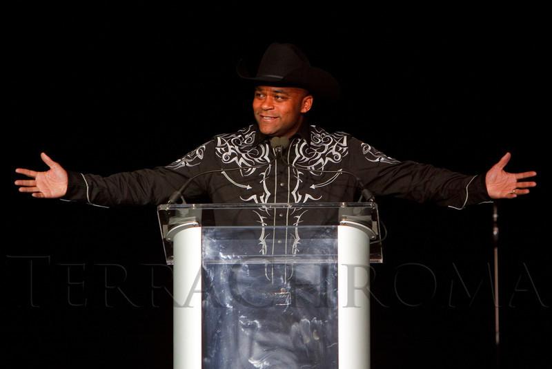 (Denver, Colorado, Oct. 22, 2011)<br /> Denver mayor Michael Hancock in his new duds.  Western Fantasy, benefiting Volunteers of America, Colorado Branch, at the National Western Events Center in Denver, Colorado, on Saturday, Oct. 22, 2011.<br /> STEVE PETERSON