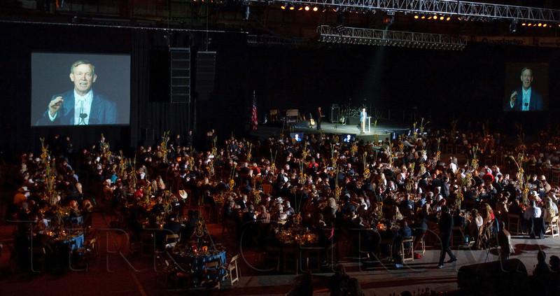 (Denver, Colorado, Oct. 22, 2011)<br /> Colorado governor John Hickenlooper speaks.  Western Fantasy, benefiting Volunteers of America, Colorado Branch, at the National Western Events Center in Denver, Colorado, on Saturday, Oct. 22, 2011.<br /> STEVE PETERSON
