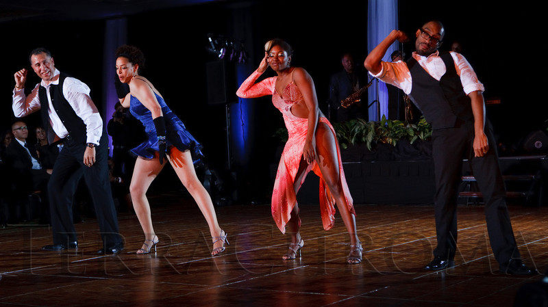 (Denver, Colorado, Oct. 29, 2011)<br /> Mike and Dawn Perez are paired with Shanna Woods and Edgar Page.  Dancing with the Denver Stars Gala, benefiting Cleo Parker Robinson Dance, at the Renaissance Denver Hotel in Denver, Colorado, on Saturday, Oct. 29, 2011.<br /> STEVE PETERSON
