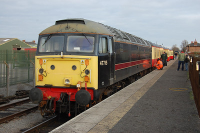 Having run round its train, 'Poseidon' waits to depart from Leeming with the 1148 to Redmire (03/01/2011)