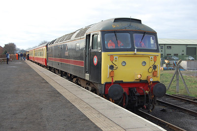 For the past three years, my first 'Brush' of the year has been at Wensleydale, and the railway was once again holding a January running day. 47715 is pictured on arrival back at Leeming Bar with the late-running 1026 from Redmire (03/01/2011)