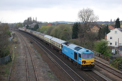 60074 'Teenage Spirit' approaches the Dunkirk Flyover in the outskirts of Nottingham with Pathfinder's 1Z27 0617 Bristol Temple Meads - Cleethorpes 'Humber Explorer' charter. 66096 is just visible on the rear of the train and had worked the tour as far as Toton (02/04/2011)
