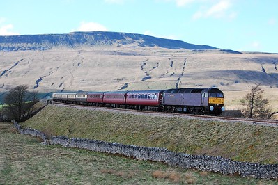 47804 appraoches Ribblehead with Statesman Rail's 1Z58 1520 return charter from Carlisle to Milton Keynes. Whilst Whernside in the background was beautifully illuminated by the afternoon sunshine, on this occasion the train unfortunately wasn't... (02/04/2011)
