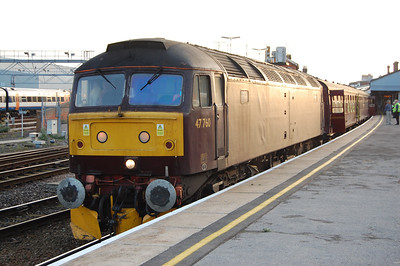 47760 calls at Salisbury with the Railway Touring Company's 1Z71 0609 Poole-Plymouth charter, which was diesel-hauled to Bristol for a pair of stam locomotives forward (22/10/2011)