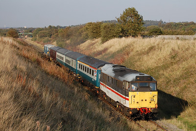 In near-perfect light on what had been a particularly pleasant Autumn day, 31454 accelerates away from Ruddington South Junction with 1A15 1550 Ruddington to Loughborough (01/10/2011)