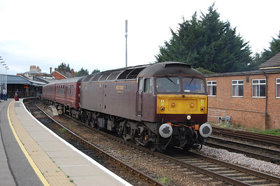 47826 pulls out of Salisbury station with the empty stock off Compass Tours' 1Z57 0605 charter from Holyhead (05/10/2011)