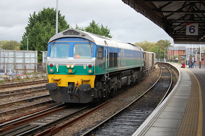 59005 'Kenneth J Painter' passes through Salisbury with a Westbury-bound train of stone empties (05/10/2011)