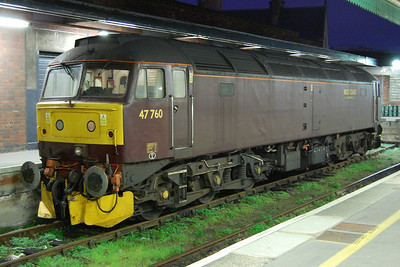 47760 spent the day at Bristol Temple Meads whilst the tour continued to Plymouth and back behind steam traction. The loco is pictured here shortly after 6pm whilst waiting for the arrival of he return leg (22/10/2011)