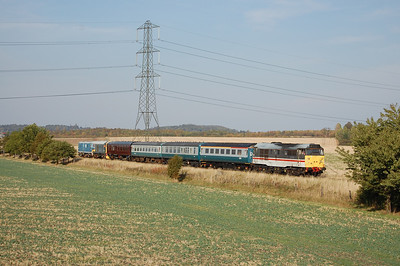 The tail end view of 1D12 1439 Loughborough to Ruddington , with 31454 bringing up the rear (01/10/2011)