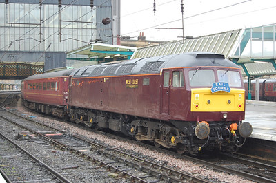 47854 is pictured on arrival at Carlisle with Railtourer's 1Z32 0610 charter from Cleethorpes via the Hope Valley and Cumbrian Coast routes. The West Coast stalwart had recently returned to traffic following lengthy repairs after sustaining fire damage in April 2009 (08/10/2011)
