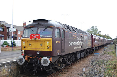 In connection with the 150th anniversary of the arrival of Saltburn onto the railway map, two special trains were organised to the potash mine at Boulby in the hills to the south of the town. Originally booked for steam haulage (with an assisting diesel on the rear) the trains were in fact operated using 47826 top-and-tailed with 57601 due to a series of lineside fires started by a steam loco in the preceding week, The 'Brush' is seen departing Saltburn on the rear of 1Z43 1429 round trip to Boulby, which initally had to travel to out and reverse at Grangetown in order to access the branch (02/10/2011)
