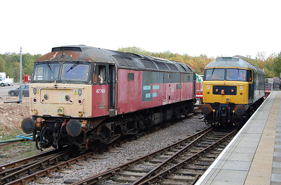 There aren't many heritage lines that can boast two preserved '47s' in working order: 47765 and 47292 are pictured side-by-side at Ruddington (01/10/2011)