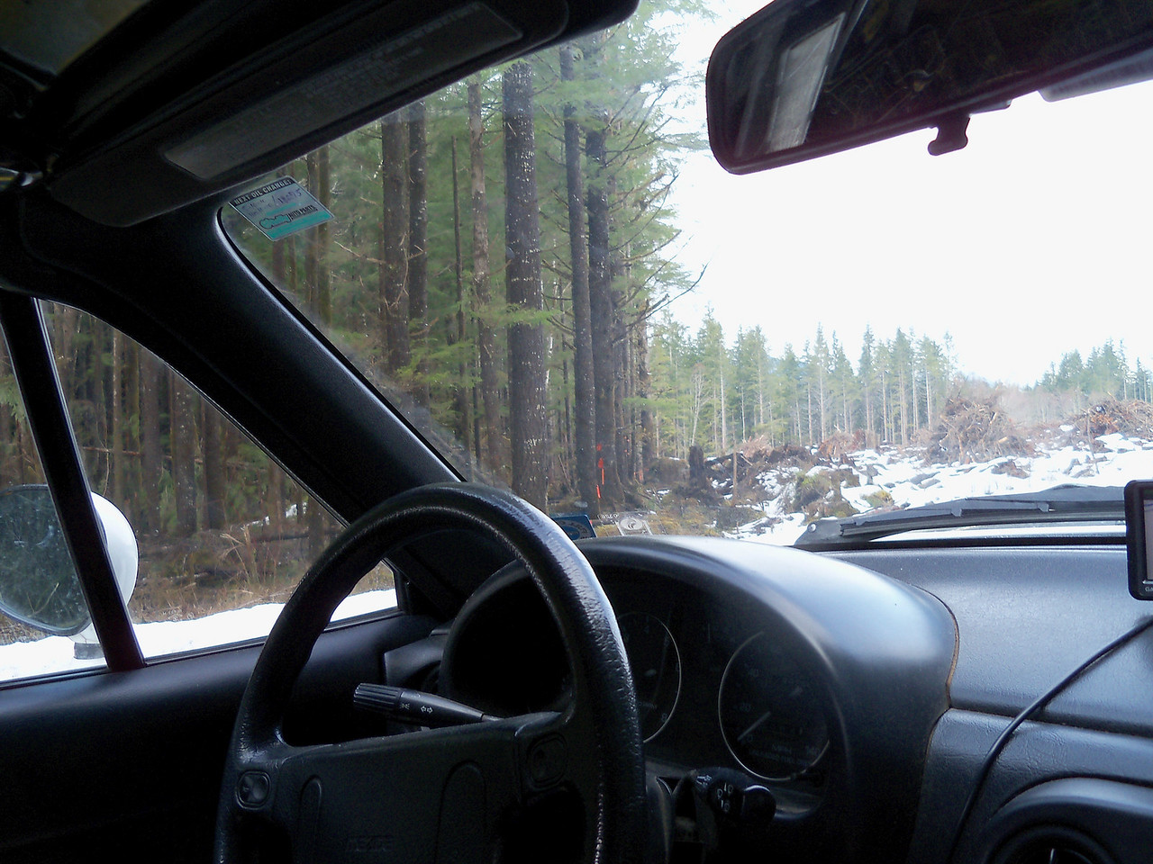 Sunday before the Polar Bear, on the way to Lake Wynoochee in our '90 Miata...