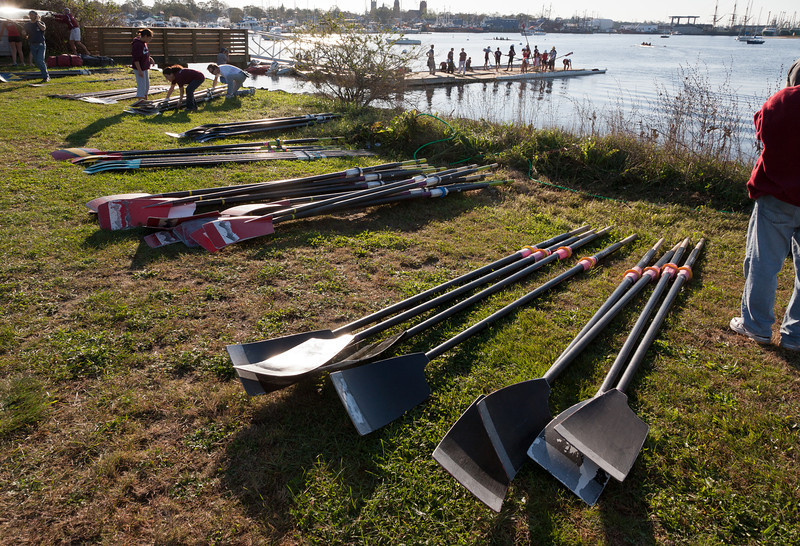 Oars piled by the launch site
