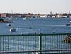 Boats approaching bridge