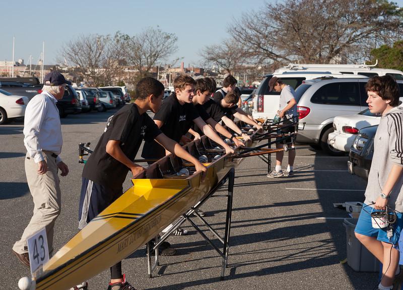 Novice Boys picking up boat