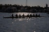 Novice Boys Eight silhouetted