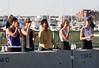 Teammates cheering on the bridge: Phoebe, Abbie, Rochelle, Clio, and Klara