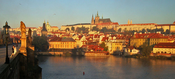 Actually, we stayed at the far (West) end, below Prague Castle visible on the hill above the palace district.