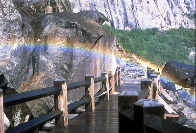 Walk under a rainbow on the Wapama Falls Bridge, Hetch Hetchy.