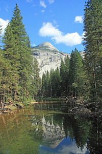 North Dome watching over the Merced River in Yosemite Valley.