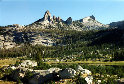 a garden in the least likely places. Echo Peaks and Matthes Crest above Echo Lake.