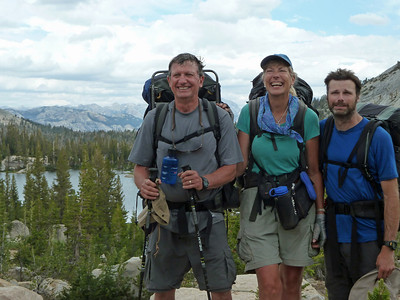 Friends are best in the backcountry. Guides Bob, Banning, and me hamming it up on the High Country Trip.