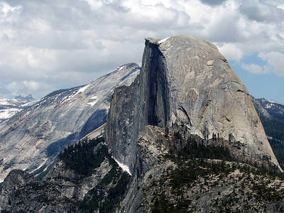 Sometimes what seems impossible isn't if you find the easy way that circles around the backside. Half Dome from Glacier Pt.