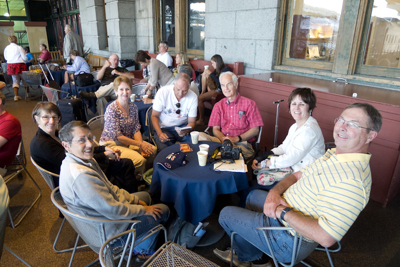 Group gathered at station to board Canada Rail