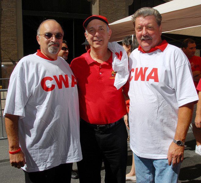 Executive VP Angel Feliciano, CWA President Larry Cohen and VP Joe Manley.