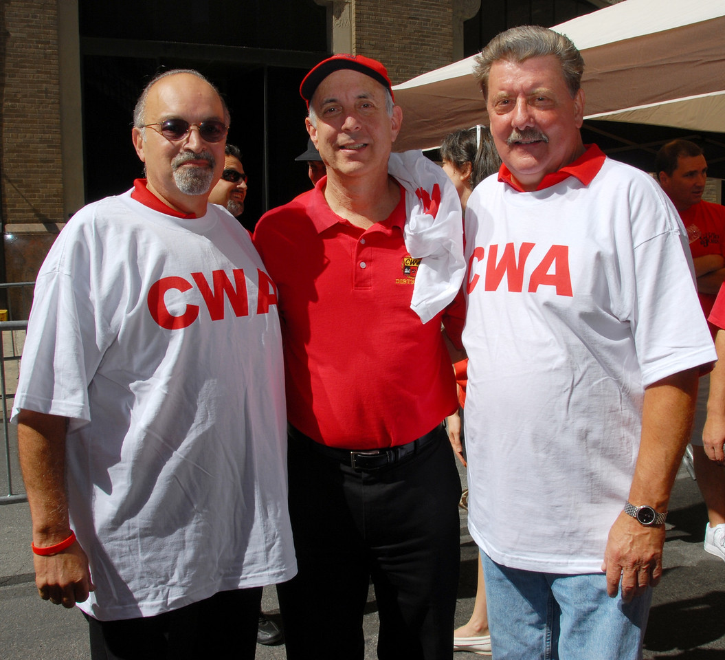 Executive VP Angel Feliciano, CWA President Larry Cohen and VP Joe Manley.