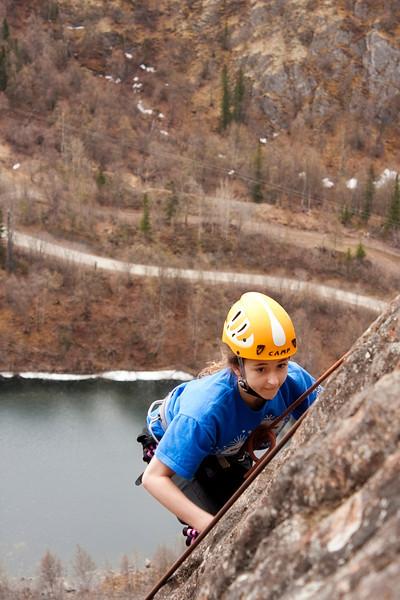 Athena is high on the rocks over Ravine Lake.