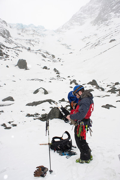 Team members gear up for an approach to Eklutna Glacier.