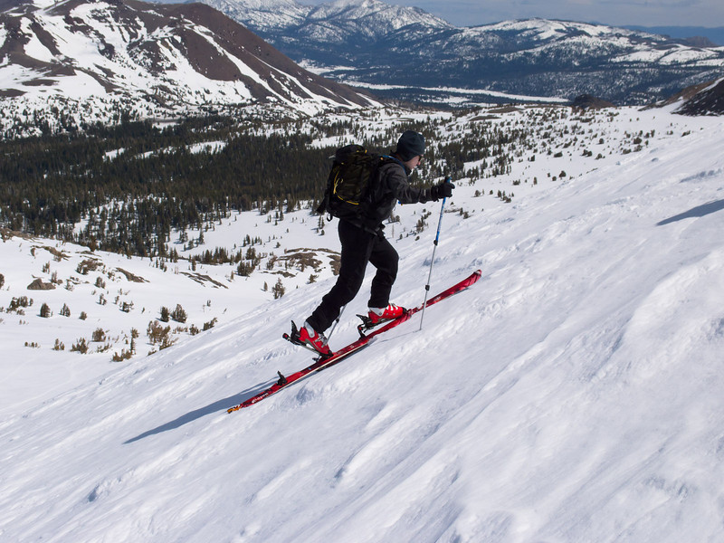 Climbing steeply with skis