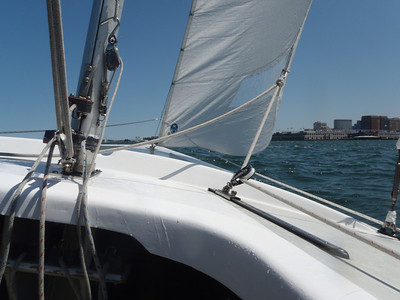 On the water in a Soling in Boston Harbor