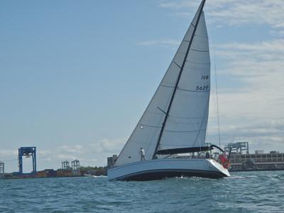 Nice boat sailing near us on Boston Harbor