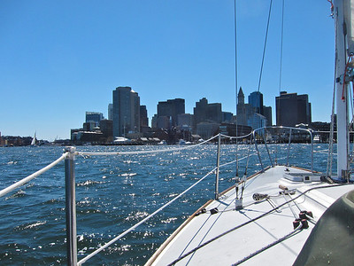 On the J24 on free sail weekend at the Boston Sailing center
