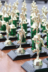 Trophies were given to participants depending on their age and finishing time.