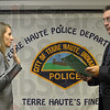 Oath: Marcia Bahr takes the oath of office from Mayor Duke Bennett to become a new member of the Terre Haute Police Department Thursday afternoon.