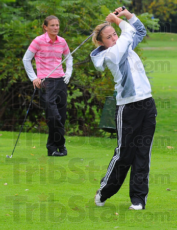 Tribune-Star/Jim Avelis<br /> State bound: Terre Haute South senior Morgan Patterson will represent her school this weekend in the state golf championships.