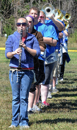 Tribune-Star/Jim Avelis<br /> In a row: Amanda Potter and her clarinet  leads this line in the Indiana State University marching band as they prctice Wednesday afternoon.