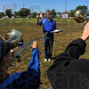 Tribune-Star/Jim Avelis<br /> Leader of the band: Corey Francis, Diretor of Athletic Bands at Indiana State University, runs his of his students through the music they'll perform tomorrow at the ISU-Butler football game.